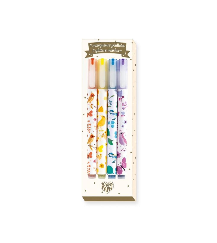 Set carioca (marker) cu sclipici Djeco - Desen și pictură