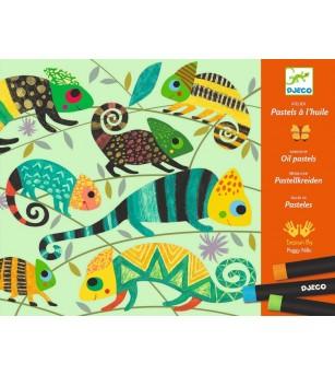 Atelier culori ulei pastel Djeco, Jungla - Desen și pictură