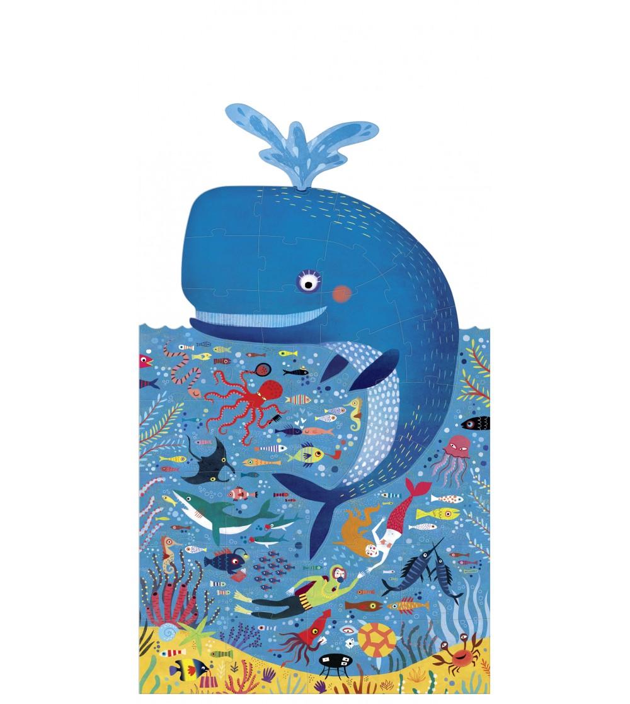 Puzzle Londji, Balena albastra in ocean - Puzzle-uri