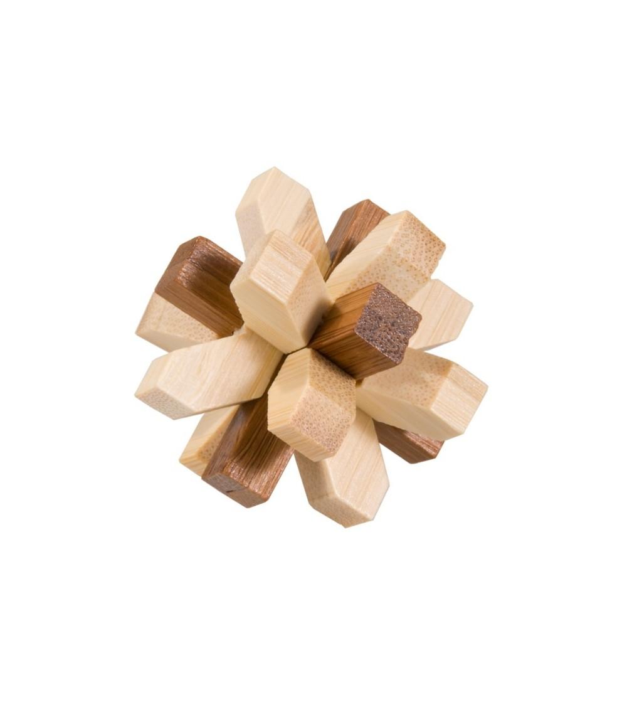 Joc logic IQ din lemn bambus in cutie metalica-321 - Jucării logică