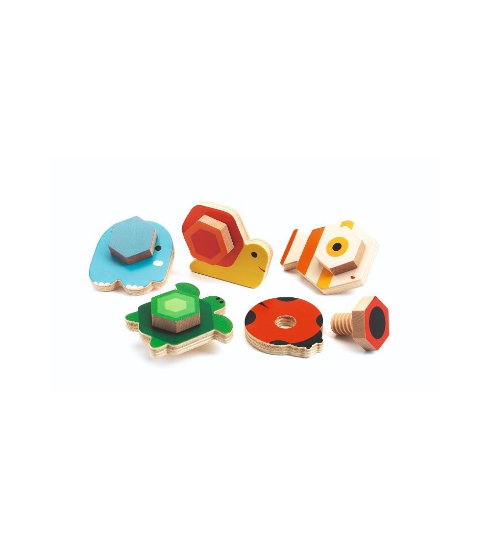 Animale cu surub, TournaBasic Djeco - Jucării de lemn si Montessori
