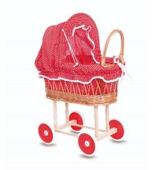 Cărucior pentru păpuși Egmont - husă roșie cu buline
