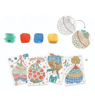 Atelier creativ de pictura Djeco, Rochii cu flori - Lucru manual