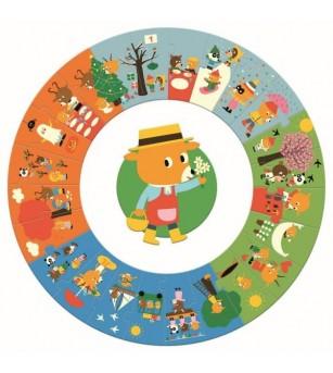Puzzle cicular Djeco, anotimpurile - Puzzle-uri