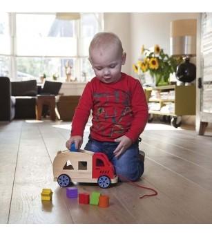 Camion Shape Sorter cu 6 forme - Jucării de lemn si Montessori