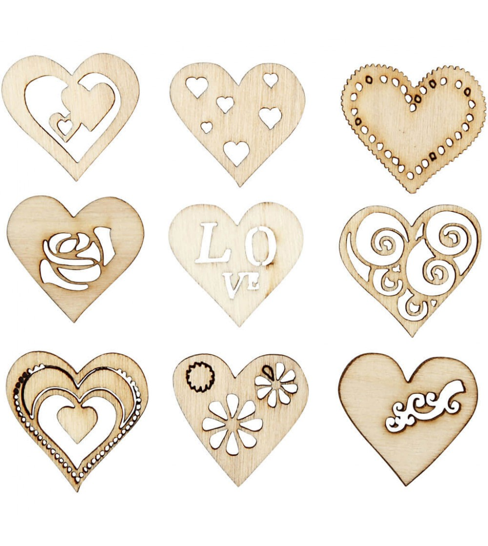 Set inimi din lemn - 45 buc - Crafturi