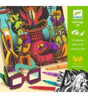 Atelier de colorat 3D Djeco, Monstruleti simpatici - Desen și pictură