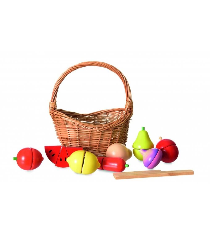 Cos cu fructe de feliat, Egmont - Jucării de lemn si Montessori