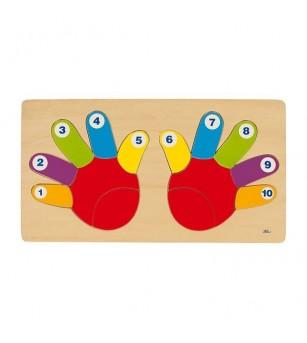 Puzzle lemn Goki Manutele - Jucării de lemn si Montessori