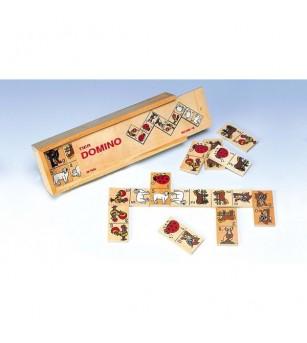 Domino Animale in cutie de lemn - Jucării logică