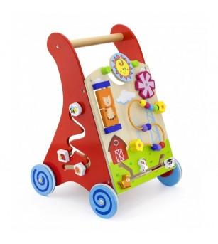 Antemergator rosu cu activitati tip Montessori - Jucării de lemn si Montessori