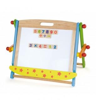Sevalet de masa cu tabla alba magnetica si neagra, cu accesorii - Jucării creativ-educative