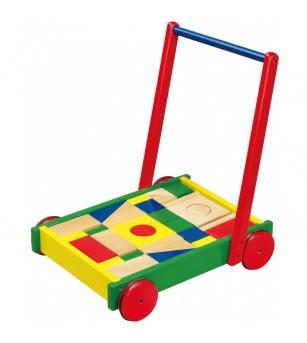 Cadru pentru mers multifunctional Viga cu cuburi - Jucării de lemn si Montessori