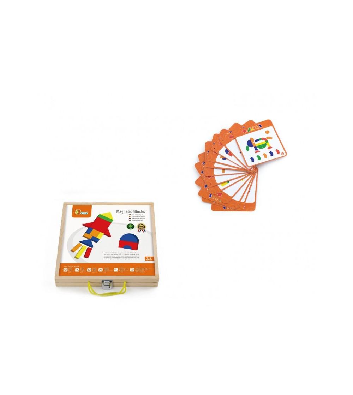 Set magnetic - forme geometrice din lemn cu cutie - Jucării creativ-educative