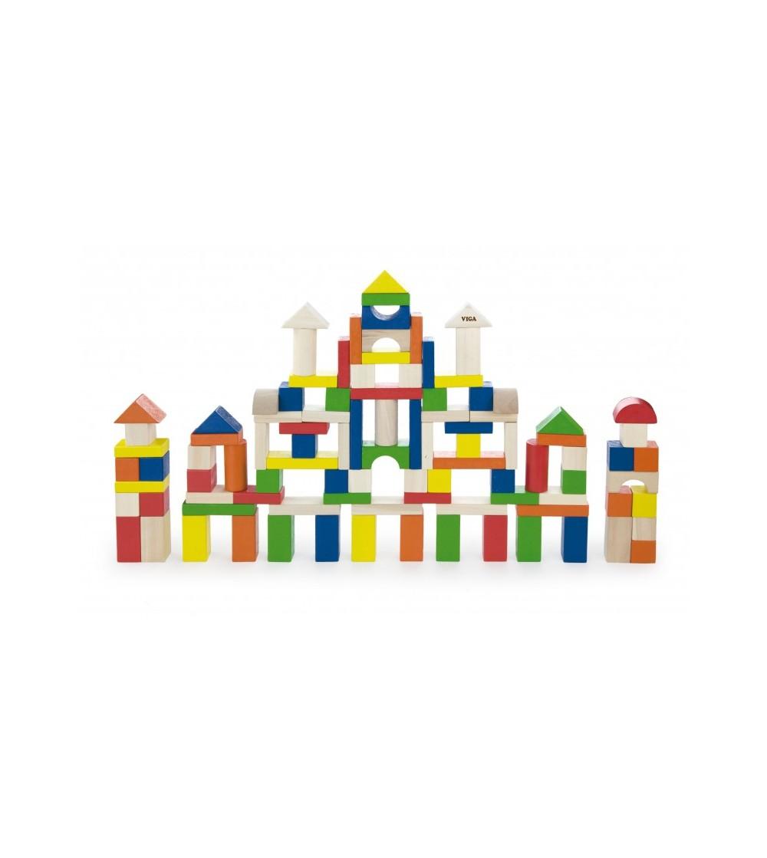 Cuburi de construit din lemn, colorate, 2.5 cm, 100 buc - Jocuri construcție