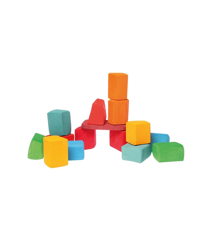 Set Waldorf de constructie cu 15 forme neregulate - Jucării de lemn si Montessori