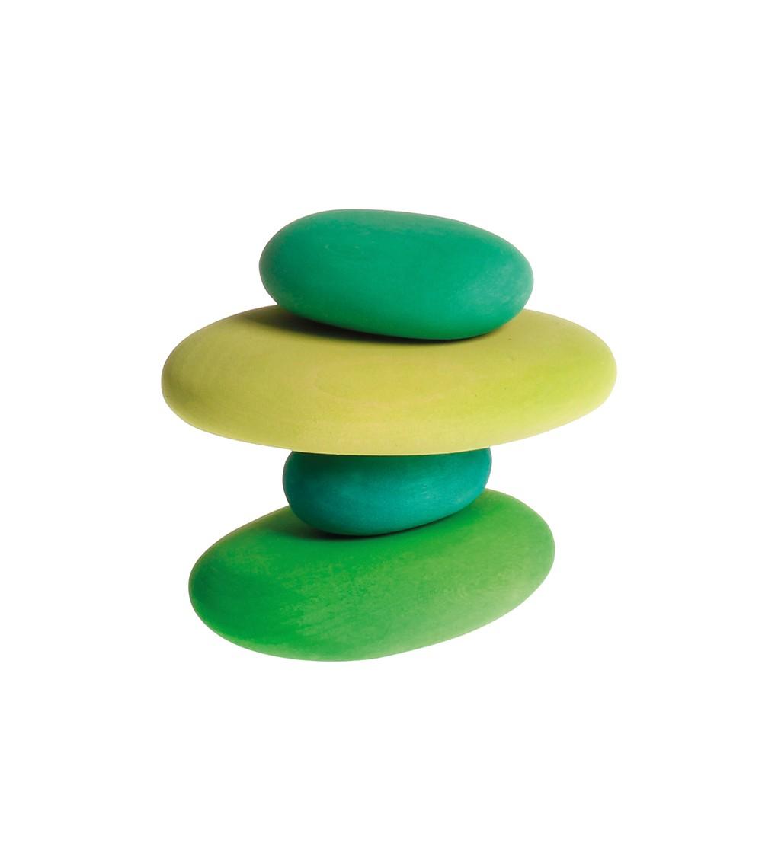 Forme in echilibru, oval, nuante de verde - Jucării de lemn si Montessori