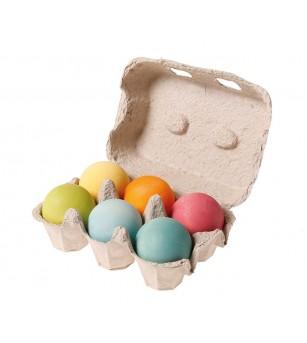 Set de 6 bile mari, pastel - Jucării de lemn si Montessori