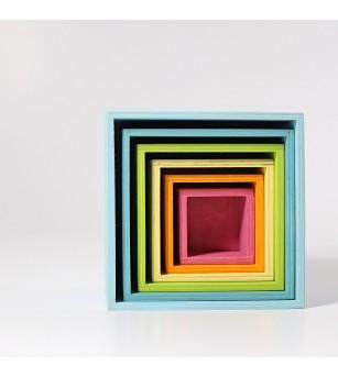 Set mare de cutii colorate pastel - Jucării de lemn si Montessori
