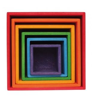 Set mare de cutii colorate curcubeu - Jucării de lemn si Montessori