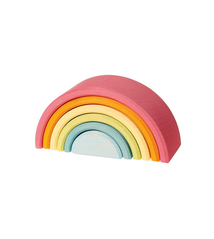 Set curcubeu, 6 piese, pastel - Jucării de lemn si Montessori