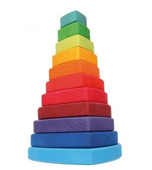 Turn de stivuit cu triunghiuri pentru bebelusi - Jucării de lemn si Montessori