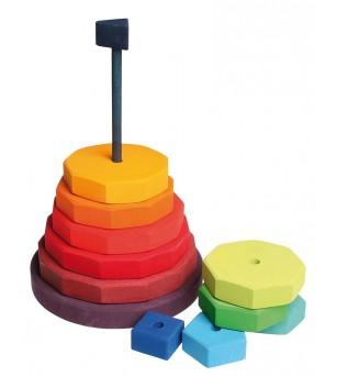 Turn gigant de stivuit cu forme geometrice - Jucării de lemn si Montessori