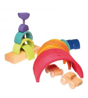 Turn curcubeu, 14 piese - Jucării de lemn si Montessori