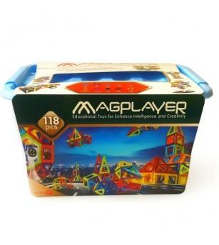 Joc de constructie magnetic MagPlayer - 118 piese