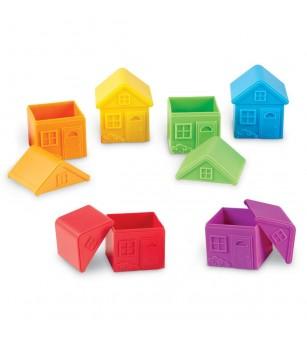 Joc de sortare - Casute colorate - Jucării de lemn si Montessori