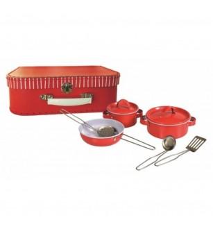 Set vase metalice rosii, Egmont - Bucătărie