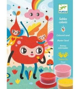 Set de creat tablouri cu nisip, Priviri vesele Djeco - Lucru manual