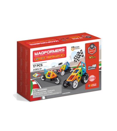 Set magnetic de construit- Magformers Vehicule, 17 piese - Jucarii magnetice