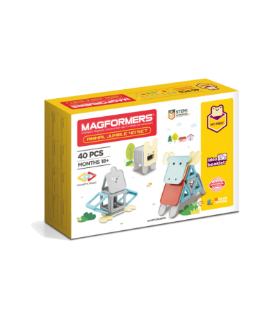 Set magnetic de construit Magformers Animale, 40 piese