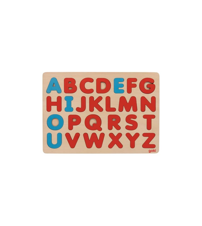 Puzzle lemn Goki litere Montessori - Jucării de lemn si Montessori