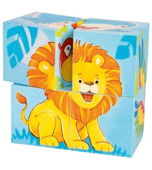 Puzzle cuburi Goki animale salbatice 4 piese - Jucării de lemn si Montessori