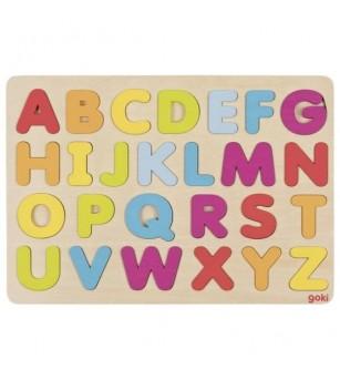 Puzzle lemn Goki alfabet - Jucării de lemn si Montessori