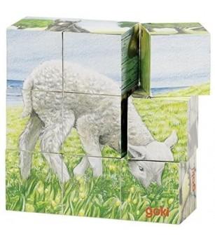 Puzzle cuburi Goki animale la ferma 9 piese - Jucării de lemn si Montessori