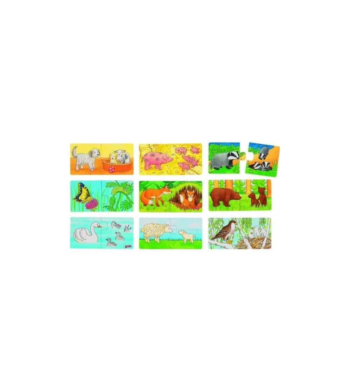 Mini puzzle Goki Cine se potriveste cu cine - Jucării de lemn si Montessori
