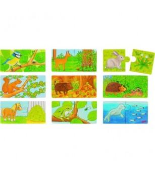Mini puzzle Goki Cine ce manance - Jucării de lemn si Montessori