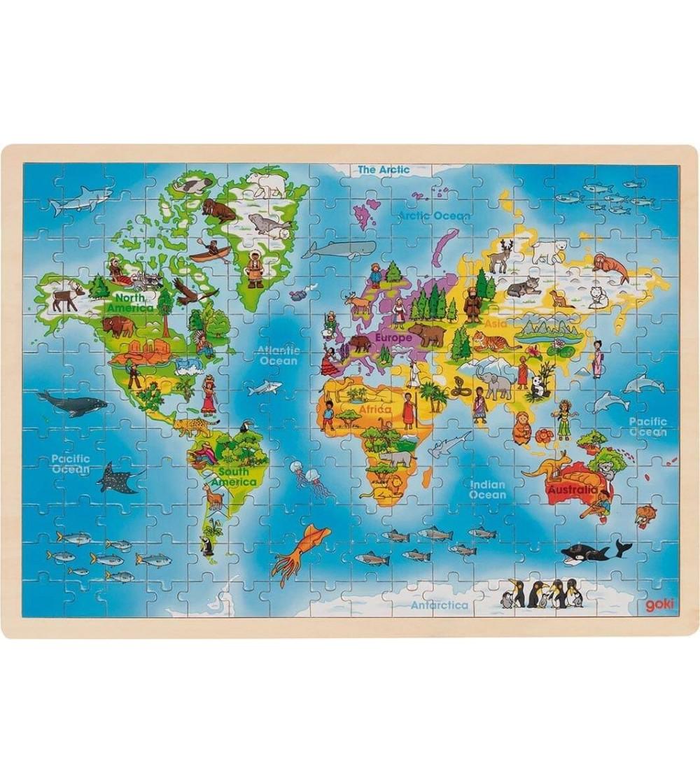Puzzle din lemn Goki Harta Lumei - Puzzle-uri