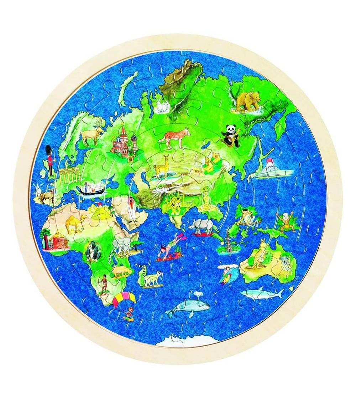 Puzzle rotund din lemn Goki Globul pamantesc - Puzzle-uri