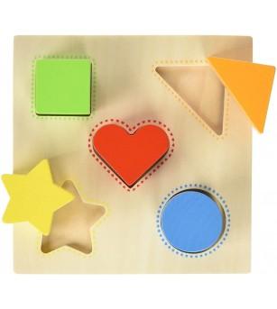 Puzzle sortator Goki Culorilor si forme - Jucării de lemn si Montessori