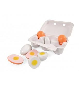 Set 6 oua din lemn in cofrag, Magni Toys - Jucării de lemn si Montessori
