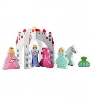 Castel cu 6 personaje din lemn Magni Toys - Căsuțe de păpuși și accesorii