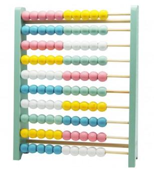 Abac din lemn culoare pastel, Magni Toys - Matematică