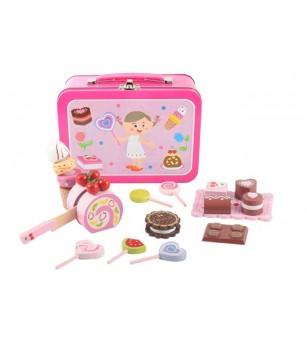 Set dulciuri de lemn in valiza Magni Toys - Jucării de lemn si Montessori