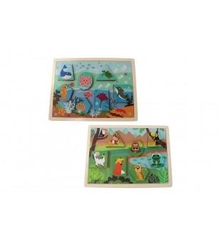 Puzzle animale 2 in 1, din lemn, Magni Toys - Jucării de lemn si Montessori