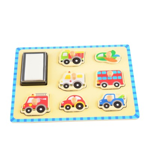 Puzzle vehicule din lemn, cu stampile, Magni Toys - Jucării de lemn si Montessori