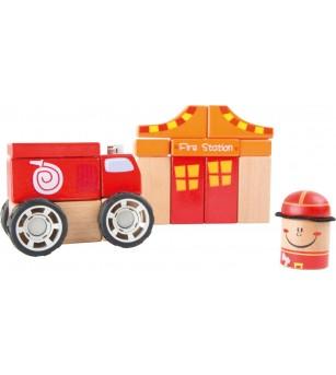 Set de constructii din lemn Legler Small Foot, Unitate pompieri - Jocuri construcție